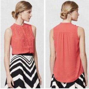 Anthropologie Maeve 2 Coral Red Embroidered Blouse